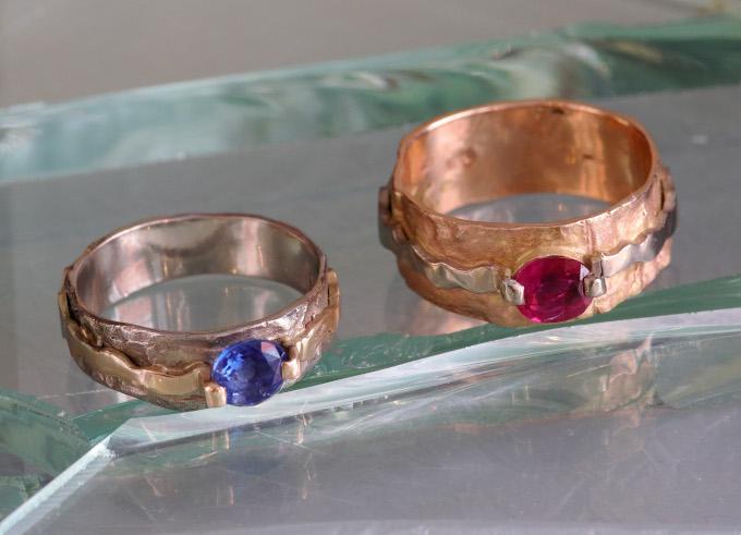 Krim ring met edelsteen